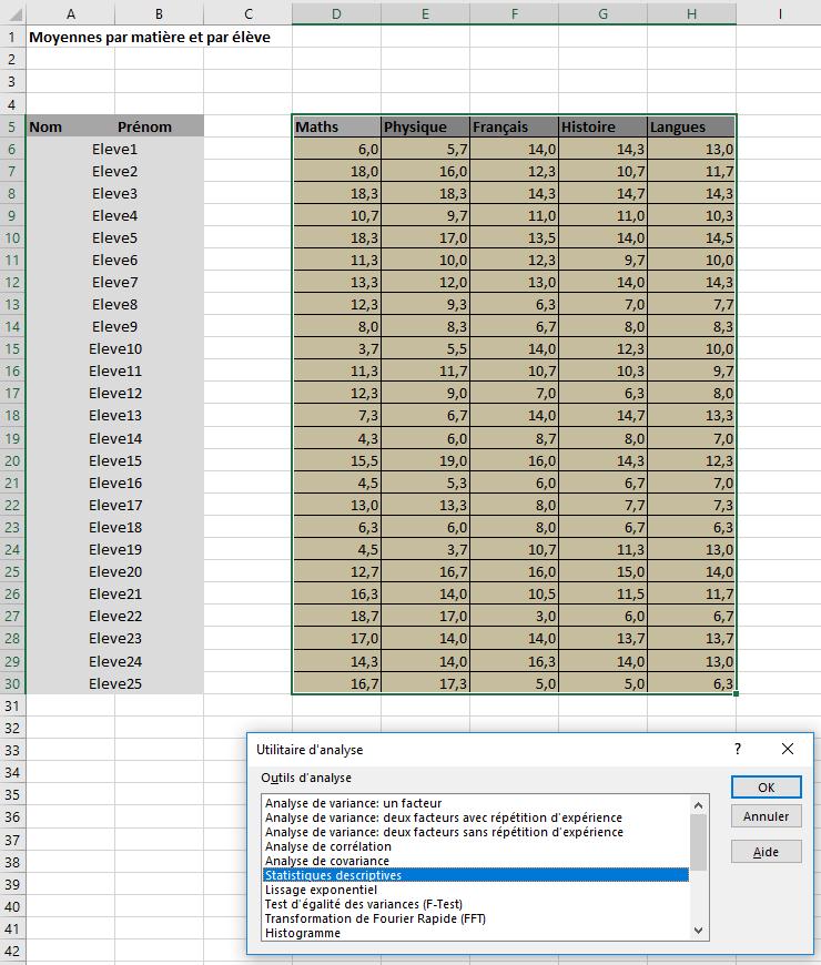 Utilitaire d'analyse - Statistiques descriptives